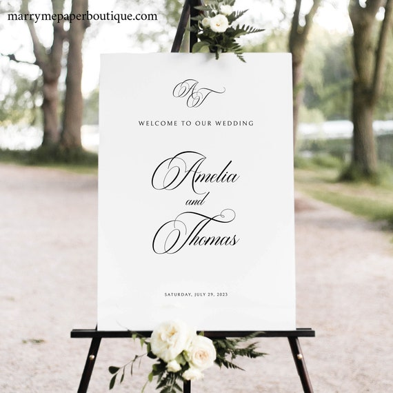 Wedding Welcome Sign Template, Traditional Wedding Calligraphy, Monogram, Printable Wedding Sign, Templett INSTANT Download, Portrait