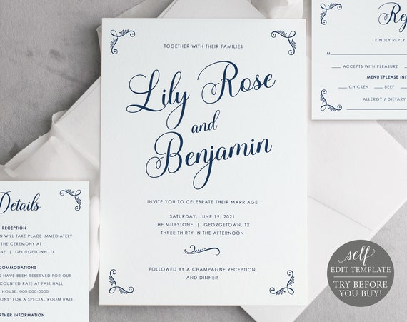 Wedding Invitation Set Templates, Rustic Navy, TRY BEFORE You BUY, 100% Editable Instant Download