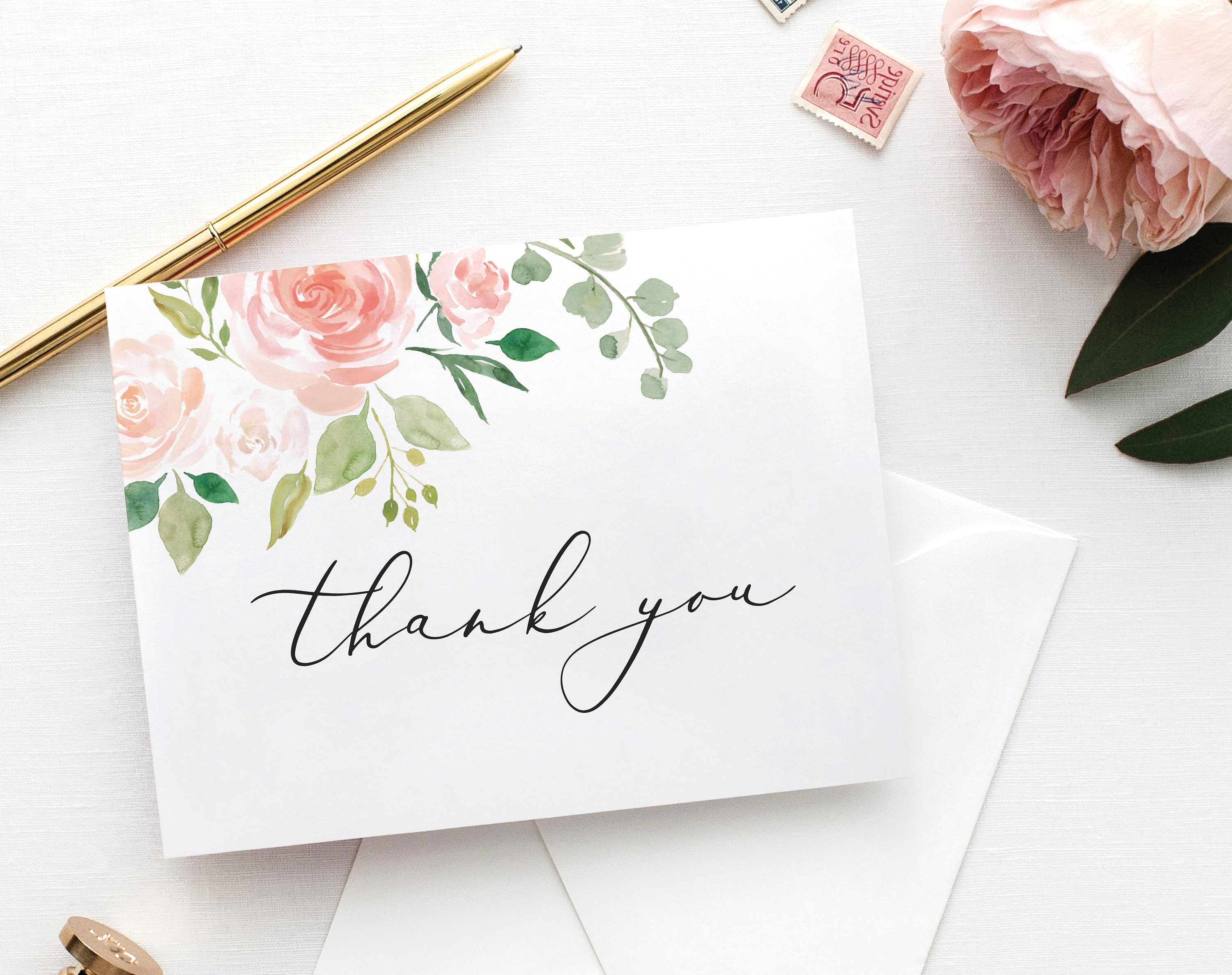 floral wedding thank you card template printable thank you card floral thank you card folded thank you card pdf instant download mm08 3