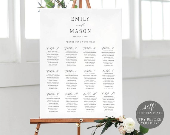 Seating Plan Template, Fully Editable Instant Download, Elegant, TRY BEFORE You BUY