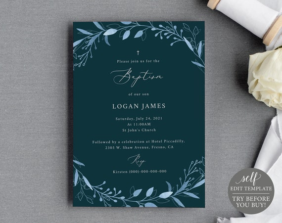 Baptism Invitation Template, Blue Leaf Navy, Fully Editable Instant Download, TRY BEFORE You BUY