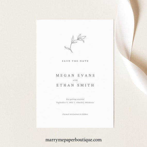 Save the Date Card Template, Botanical Leaf Save the Dates, Templett Instant Download, Try Before Purchase