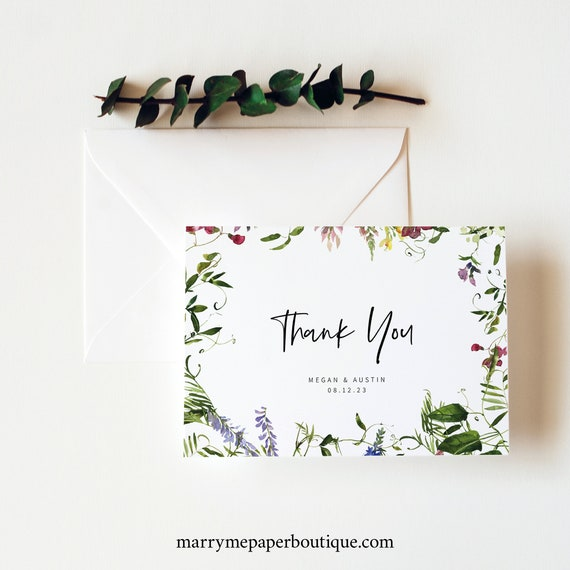 Thank You Card Template, Summer Garden Greenery, Folded Thank You Card, Printable, Templett INSTANT Download, Editable