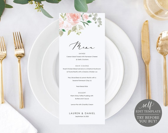 Wedding Menu Template, Blush Floral, Fully Editable Instant Download, TRY BEFORE You BUY