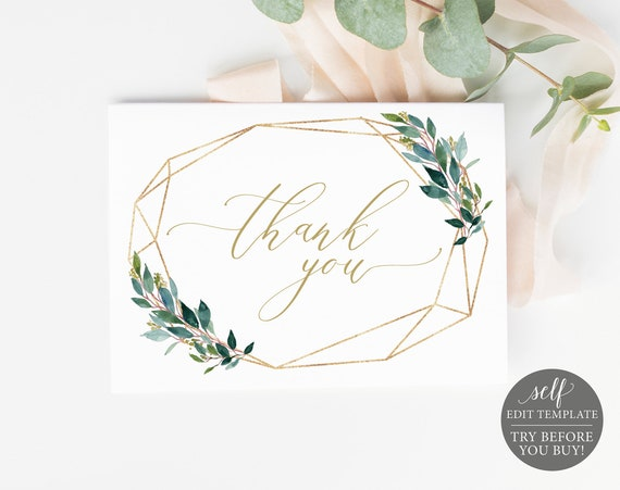 Thank You Card Template, Instant Download, Fully Editable Thank You Printable, Greenery Geometric Baptism Card, TRY BEFORE You BUY