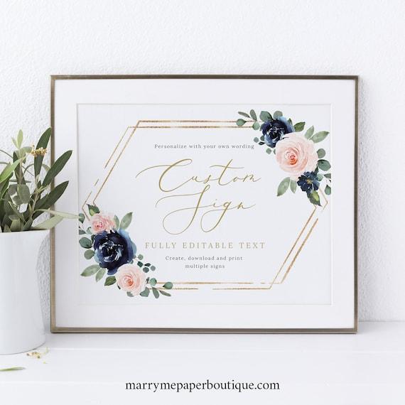 Wedding Sign Bundle Template Set, Navy & Blush Floral, Printable Wedding Signs, Editable, Templett INSTANT Download, Landscape