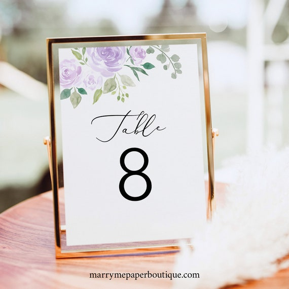 Table Number Template, Mauve & Lilac Floral, Fully Editable Instant Download, TRY BEFORE You BUY