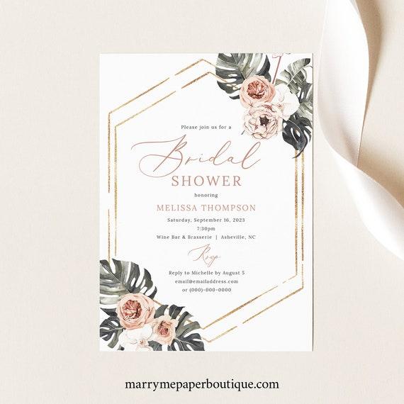 Bridal Shower Invitation Template, Tropical Leaf, Dusky Pink Flowers, Boho Bridal Shower Invite, Printable, Templett INSTANT Download