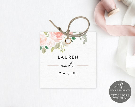 Monogram Tag Template, Blush Floral, Editable Instant Download, TRY BEFORE You BUY