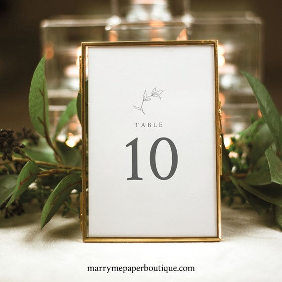 Table Number Template, Botanical Leaf, Table Number Sign Printable, Templett Instant Download, Try Before You Buy
