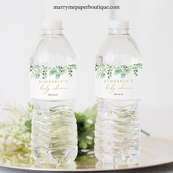 Water Bottle Label Template, Garden Greenery, Templett Editable, Label Printable, Instant Download