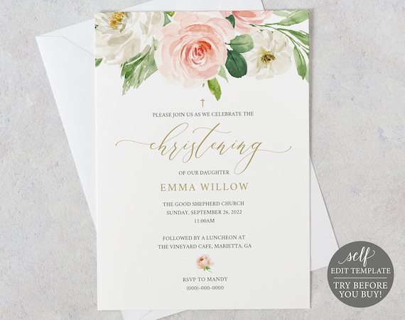 Christening Invitation Template, Blush Floral, Demo Available, Editable & Printable Instant Download