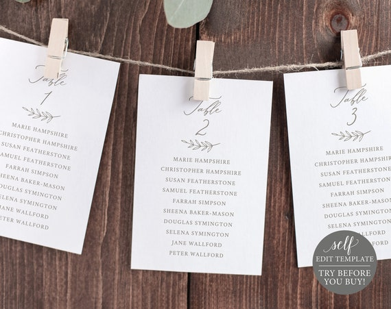 Seating Cards Template, Elegant Font, Editable Instant Download, TRY BEFORE You BUY