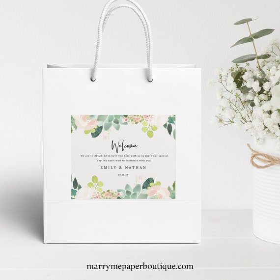 Succulent Floral Welcome Bag Label Template, Greenery Wedding, Guest Bag Label, Printable, Templett, INSTANT Download, Editable