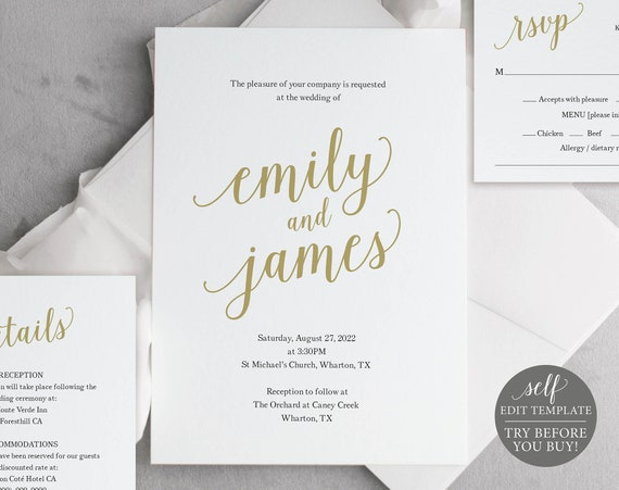Wedding Invitation Template Suite, Modern Script Gold, Editable & Printable Instant Download, Templett
