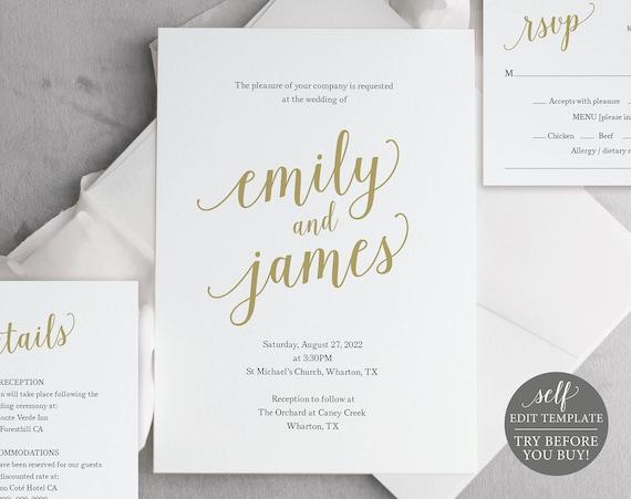 Wedding Invitation Template Suite, Modern Script Gold, Editable & Printable Instant Download, Templett