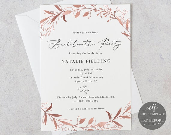 Bachelorette Party Invitation Template, Rose Gold Foliage, Editable Instant Download, TRY BEFORE You BUY