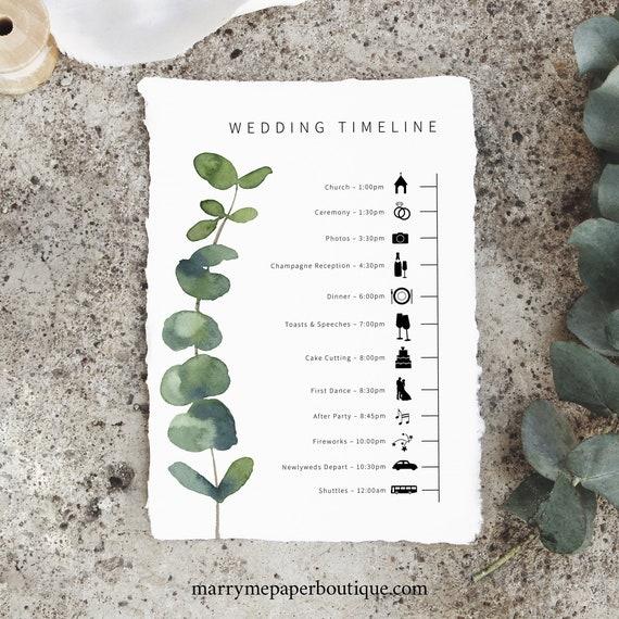 Wedding Itinerary Card Template, Elegant Eucalyptus, Printable Wedding Timeline Card, Templett INSTANT Download, Editable