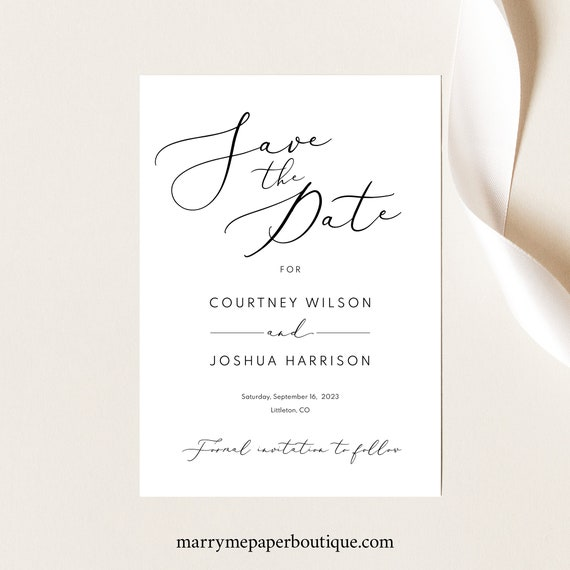 Save the Date Template, Elegant Script, Printable Save Our Date Card, Editable, Calligraphy, Templett INSTANT Download