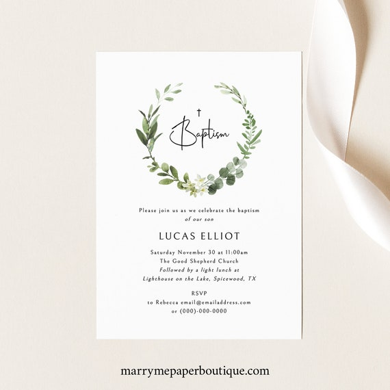 Baptism Invitation Template, Elegant Greenery Invite Printable, Templett Instant Download, Try Before Purchase