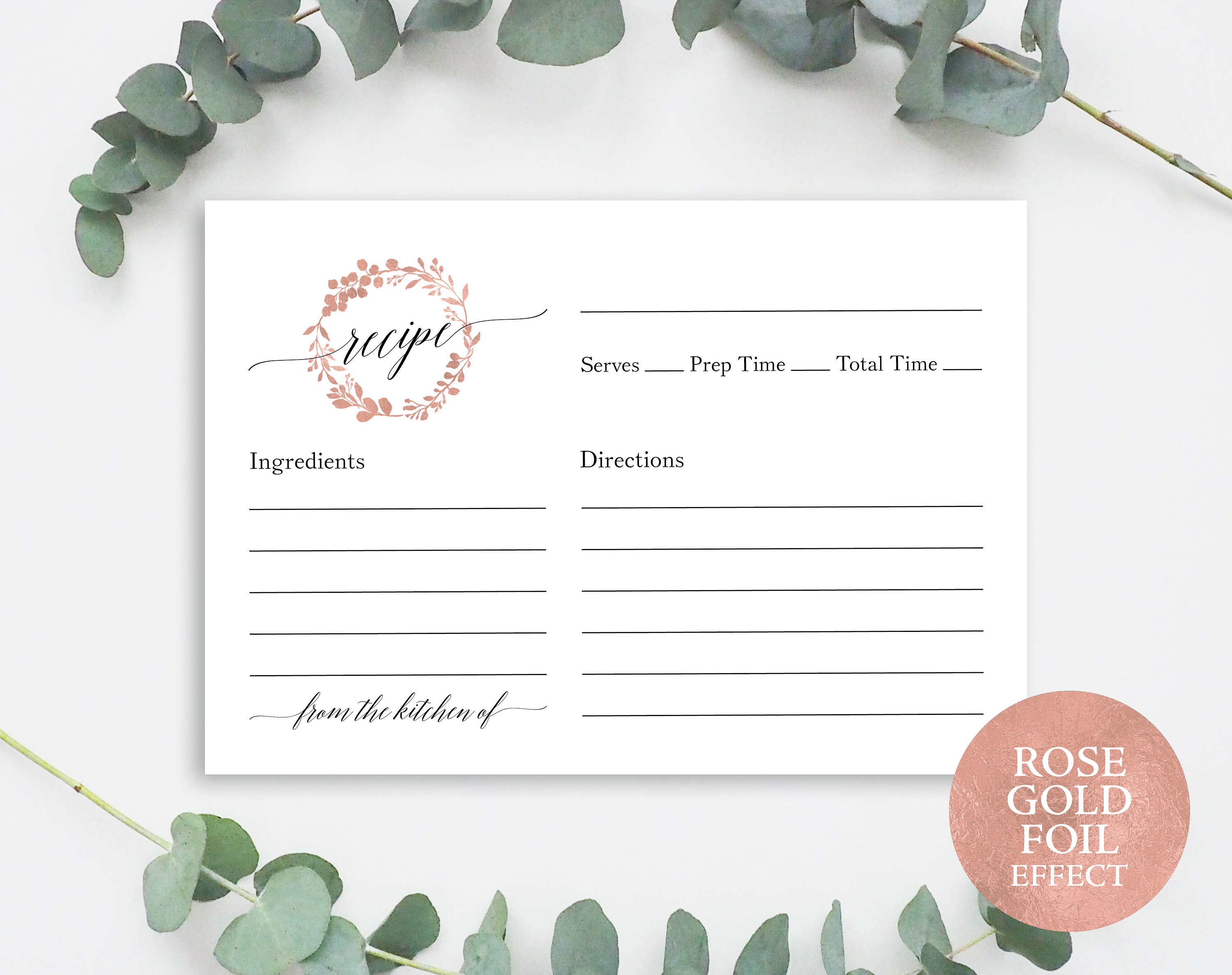 photograph relating to Free Printable Recipe Cards for Bridal Shower identified as Rose Gold Recipe Card Template, Printable Recipe Card