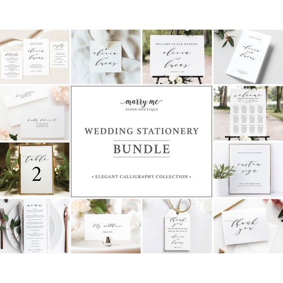 Wedding Template Bundle, Try Before Purchase, Wedding Template Kit, Templett Instant Download, Wedding Bundle Templates, Elegant Calligraphy