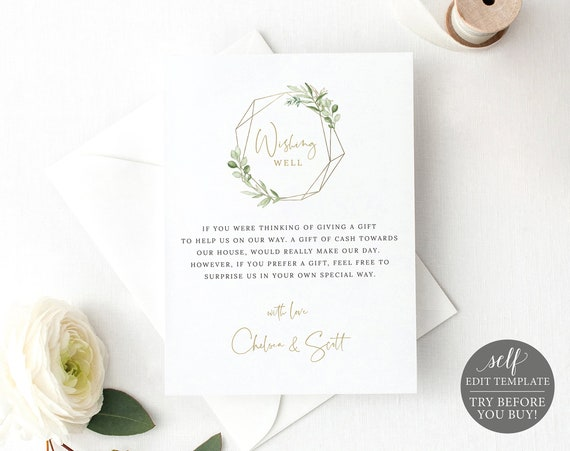Wedding Wishing Well Card Template, Greenery & Gold, Editable Printable Instant Download, Try BEFORE You Buy, Templett