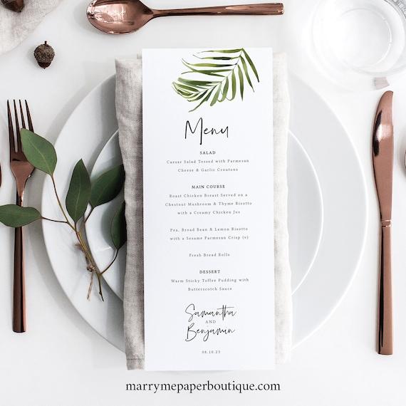 Tropical Wedding Menu Template, Greenery Menu Printable, Templett, Editable, Instant Download