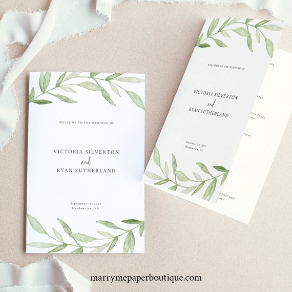 Catholic Wedding Program Template, Greenery Leaves,  Editable Instant Download, TRY BEFORE You BUY