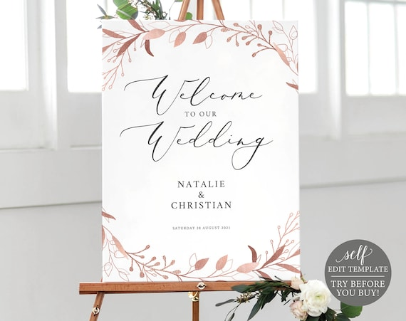 Wedding Welcome Sign Template, Fully Editable Instant Download, TRY BEFORE You BUY, Rose Gold