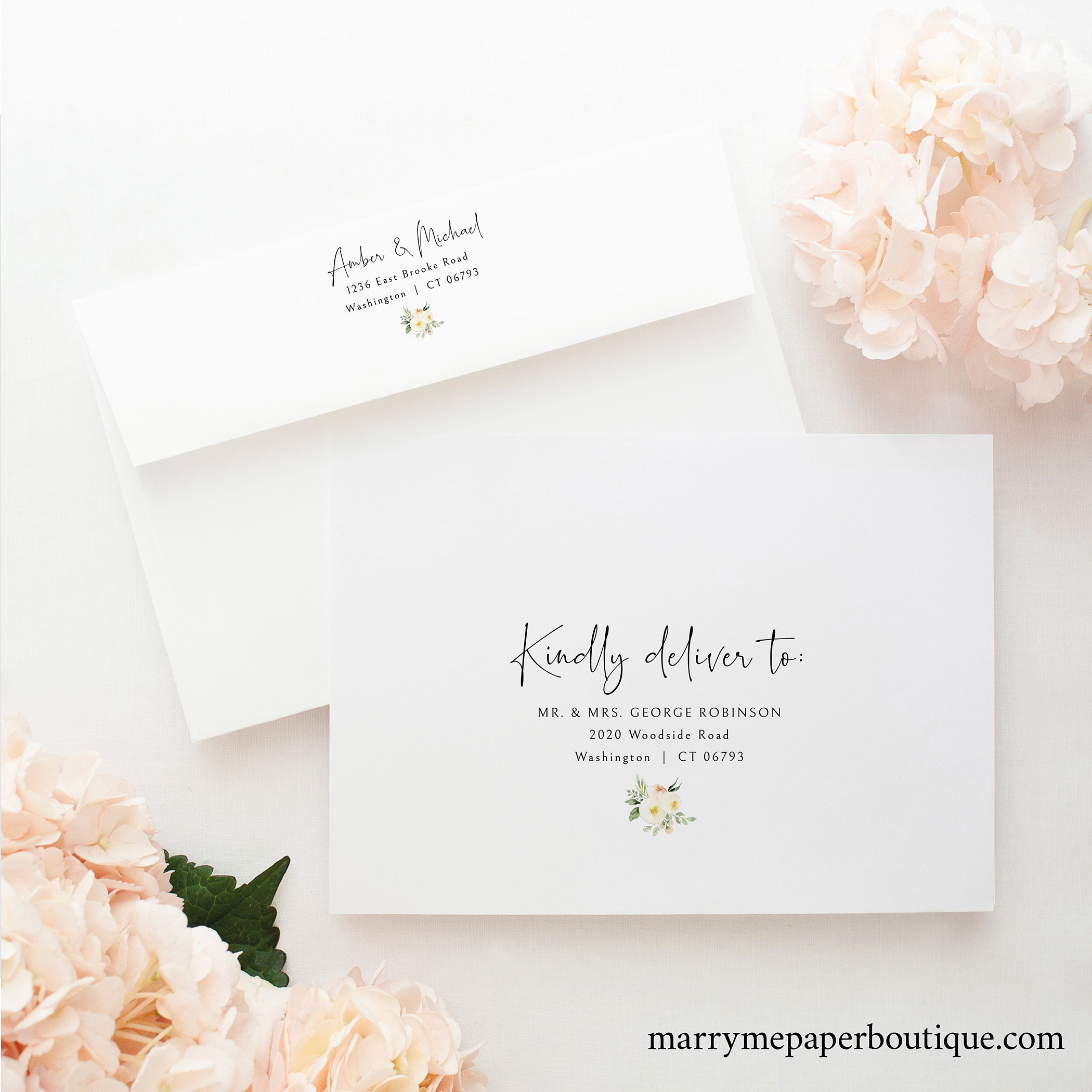 Envelope Address Template, Pink Floral Greenery, Ivory