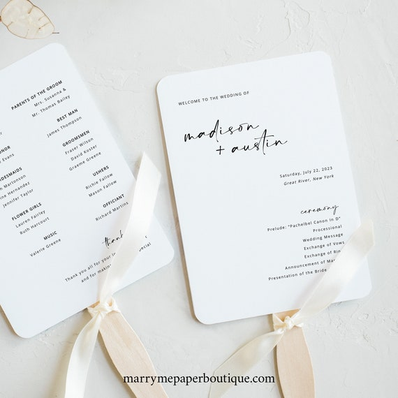 Wedding Program Fan Template, Handwritten Style, Modern Minimalist, Wedding Ceremony Fan Program, Printable, Templett INSTANT Download