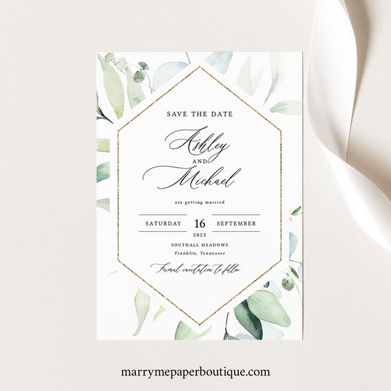 Save the Date Card Template, Classic Greenery, Printable Save Our Date, Templett, INSTANT Download, Editable