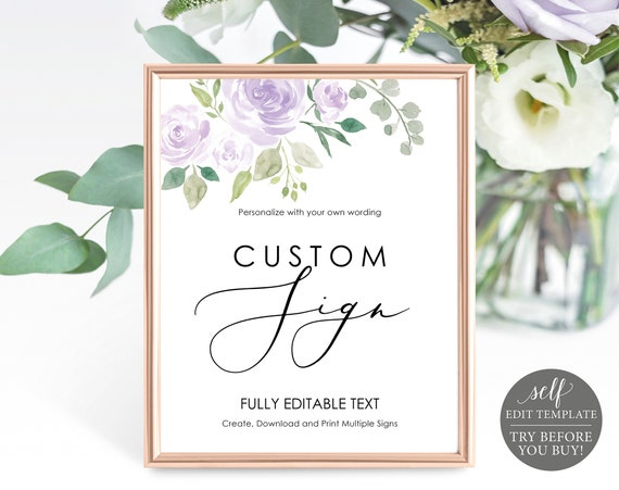 Create Multiple Signs Template, Mauve & Lilac Floral, TRY BEFORE You BUY, Editable Instant Download