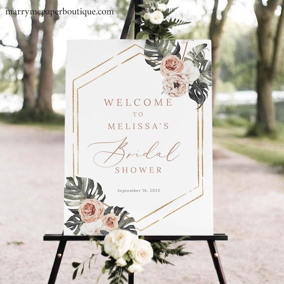 Bridal Shower Welcome Sign Template, Tropical Leaf, Dusky Pink Flowers, Boho Bridal Shower Sign Printable, Templett INSTANT Download