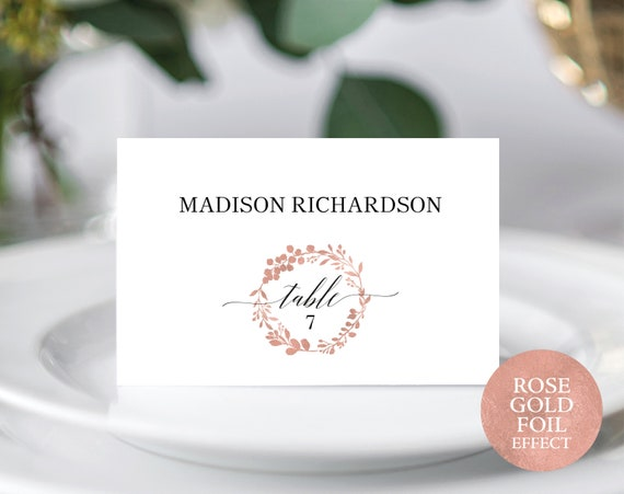 Rose Gold Seating Card Template, Printable Seating Card, Rose Gold Wedding Template, Editable Seating Card, PDF Instant Download, MM07-7