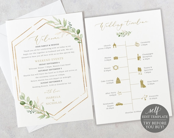 Wedding Itinerary Card Template, Editable & Printable Instant Download, TRY BEFORE You Buy, Templett, Greenery Hexagonal