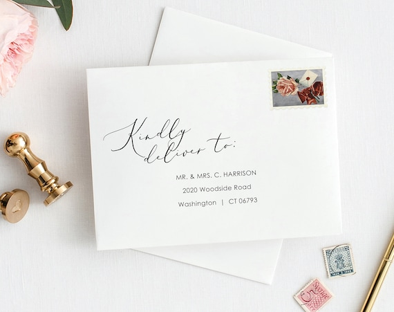 Envelope Address Template, Elegant Script, Order Edit & Download In Minutes, Try Before Purchase