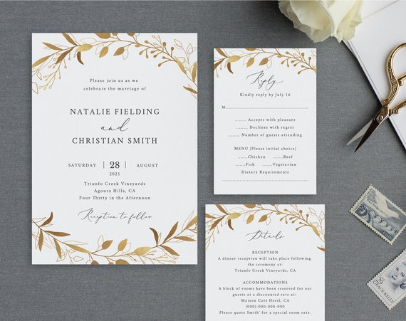 Wedding Invitation Set Template, Gold Wreath, 100% Editable Instant Download, TRY BEFORE You BUY