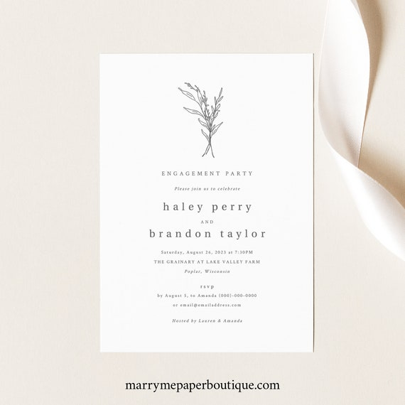 Engagement Party Invitation Template, Modern Rustic, Fully Editable Engagement Party Invite, Printable, Templett INSTANT Download