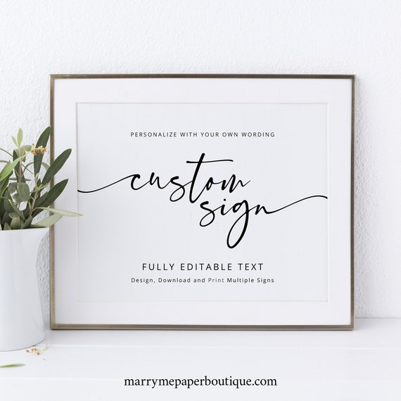 Wedding Sign Bundle, Template Set, Modern Calligraphy, Printable Wedding Signs, Editable, 10x8, Landscape, Templett INSTANT Download