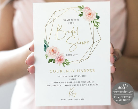 Bridal Shower Invitation Template, Blush Pink Geometric, Demo Available, Order Edit & Download In Minutes