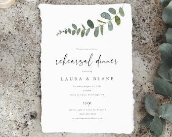 Eucalyptus Rehearsal Dinner Invitation Template, Greenery, Printable Rehearsal Invite, Editable, INSTANT Download