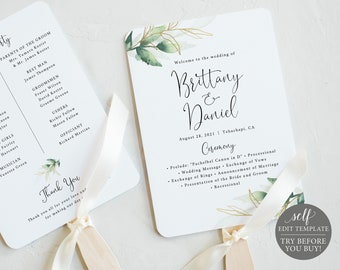 Wedding Fan Program Template, Greenery & Gold,  Editable Instant Download, TRY BEFORE You BUY