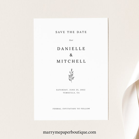 Save the Date Card Template, Formal Botanical, Try Before Purchase, Editable & Printable, Templett, Instant Download