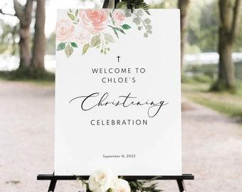 Christening Welcome Sign Template, Pink Blush Floral, Elegant Christening Sign, Printable, Editable, Templett INSTANT Download
