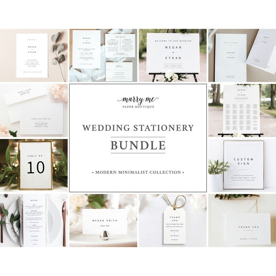 Minimalist Wedding Invitation Bundle Templates, Wedding Bundle Templates, Templett, Fully Editable, Instant Download
