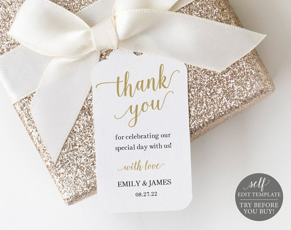 Gold Wedding Thank You Tag Template, Editable Thank You Tag, Wedding Favor Tag, Printable Thank You Tags, Instant Download