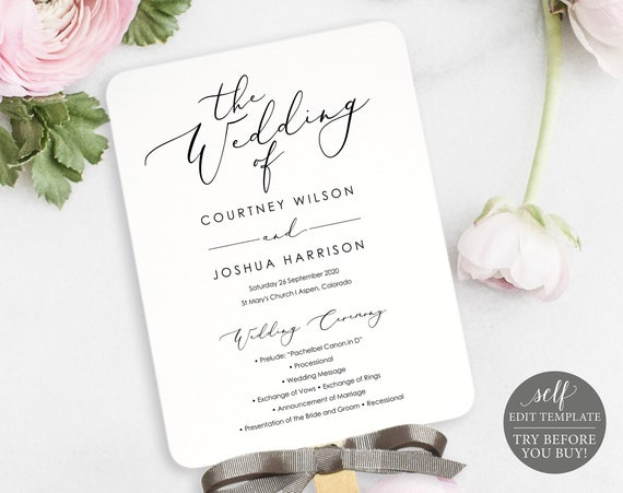 Wedding Program Fan Template, TRY BEFORE You BUY, Wedding Fan, Ceremony Fan Program Printable, Calligraphy, 100% Editable, Instant Download