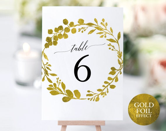 Faux Gold Wedding Table Numbers Template, Printable Table Numbers, Editable Table Number, Elegant Wedding, PDF Instant Download, MM07-3